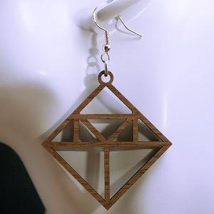 Walnut wood laser cut drop earrings style 20